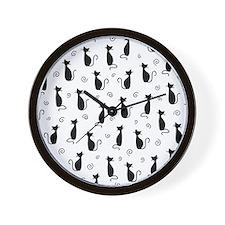 Black Cats Wall Clock