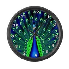 Pretty Peacock Large Wall Clock