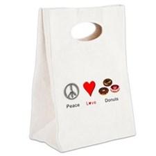 Peace Love Donuts Canvas Lunch Tote