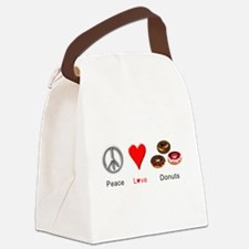 Peace Love Donuts Canvas Lunch Bag