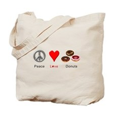 Peace Love Donuts Tote Bag