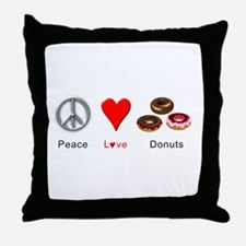 Peace Love Donuts Throw Pillow