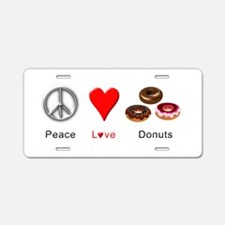 Peace Love Donuts Aluminum License Plate