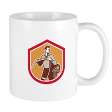 Organic Farmer Holding Scythe Wheat Shield Mugs
