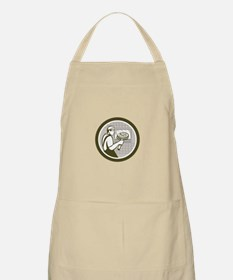 Pizza Maker Holding Peel Side Retro Circle Apron