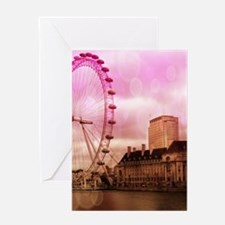 London, pink effect Greeting Cards