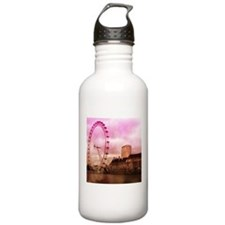 London, pink effect Water Bottle