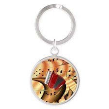 Red Accordion Abstract  Round Keychain