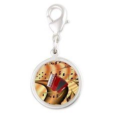 Red Accordion Abstract  Silver Round Charm