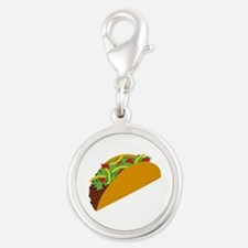 Taco Graphic Silver Round Charm