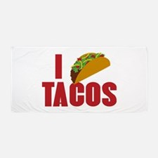 I Love Tacos Beach Towel