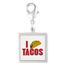 I Love Tacos Silver Square Charm