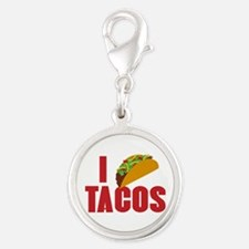 I Love Tacos Silver Round Charm
