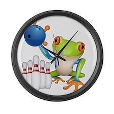 Tree Bowling Frog  Large Wall Clock