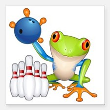 "Tree Bowling Frog  Square Car Magnet 3"" x 3"""