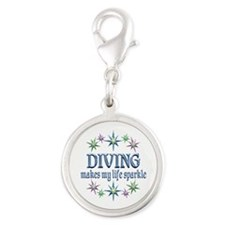 Diving Sparkles Silver Round Charm