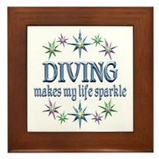 Diving Sparkles Framed Tile