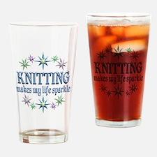 Knitting Sparkles Drinking Glass