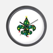Fleur De Lis Christmas Wall Clock