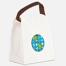 Heart Globe Canvas Lunch Bag