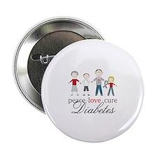 """Peace Love Cure Diabetes 2.25"""" Button"""
