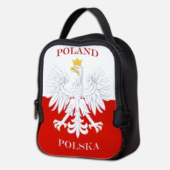 Poland Polska White Eagle Flag Neoprene Lunch Bag