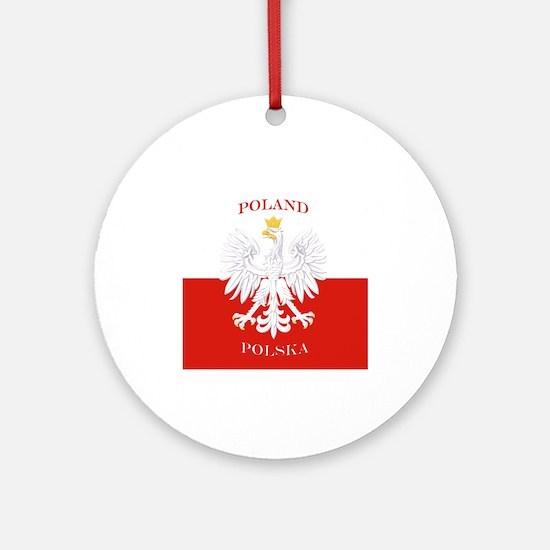 Poland Polska White Eagle Flag Ornament (Round)