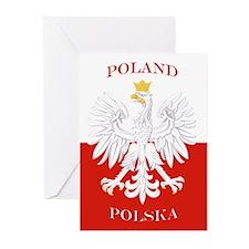 Poland Polska White Eagle Flag Greeting Cards