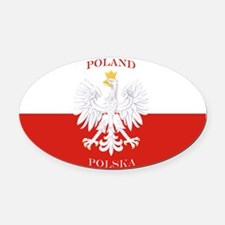 Poland Polska White Eagle Flag Oval Car Magnet