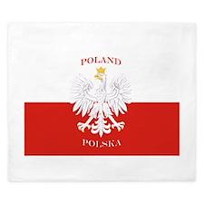 Poland Polska White Eagle Flag King Duvet