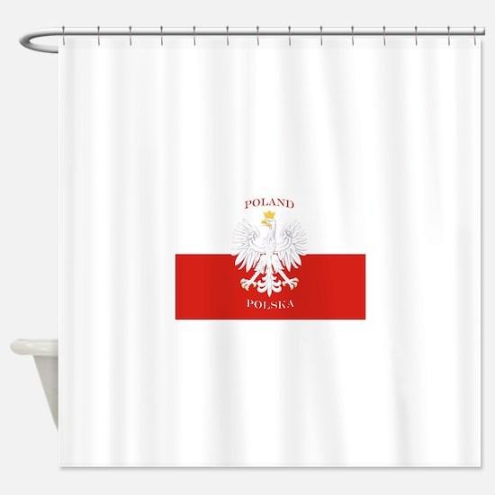 Poland Polska White Eagle Flag Shower Curtain