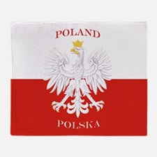 Poland Polska White Eagle Flag Throw Blanket