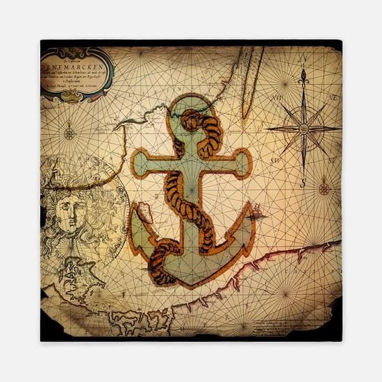 seashells nautical map vintage anchor Queen Duvet