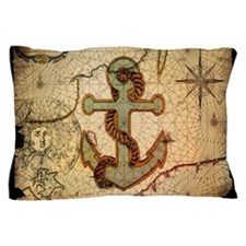 seashells nautical map vintage anchor Pillow Case