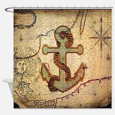 seashells nautical map vintage anchor Shower Curta
