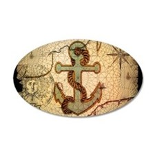 seashells nautical map vintage anchor Decal Wall S