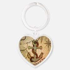 seashells nautical map vintage anchor Keychains