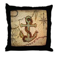 seashells nautical map vintage anchor Throw Pillow