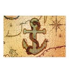 seashells nautical map vintage anchor Postcards (P