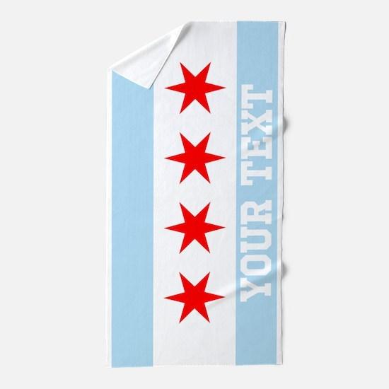 monogram chicago flag beach towel