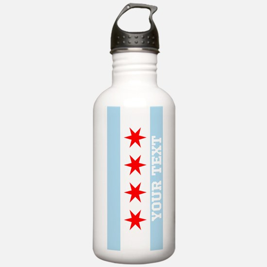 Monogram Chicago Flag Water Bottle