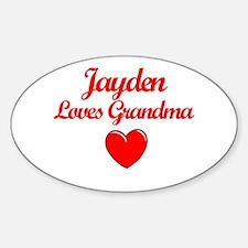 Jayden Loves Grandma Oval Decal