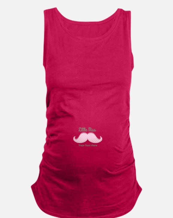 Pink Mustache Little Miss Maternity Tank Top