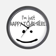 happy to be here (light) Wall Clock