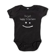 happy to be here (dark) Baby Bodysuit