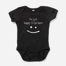 happy to be here (dark) Baby Bodysuit