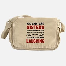 Sisters Laughing Messenger Bag