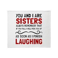 Sisters Laughing Throw Blanket