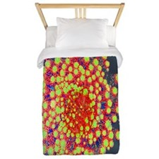 Red Green Flowers on Water Twin Duvet