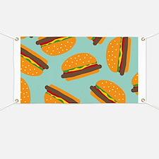 Cute Burger Pattern Banner